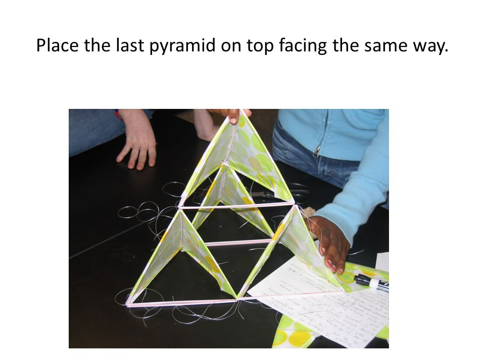 Place the last pyramid on top facing the same way.
