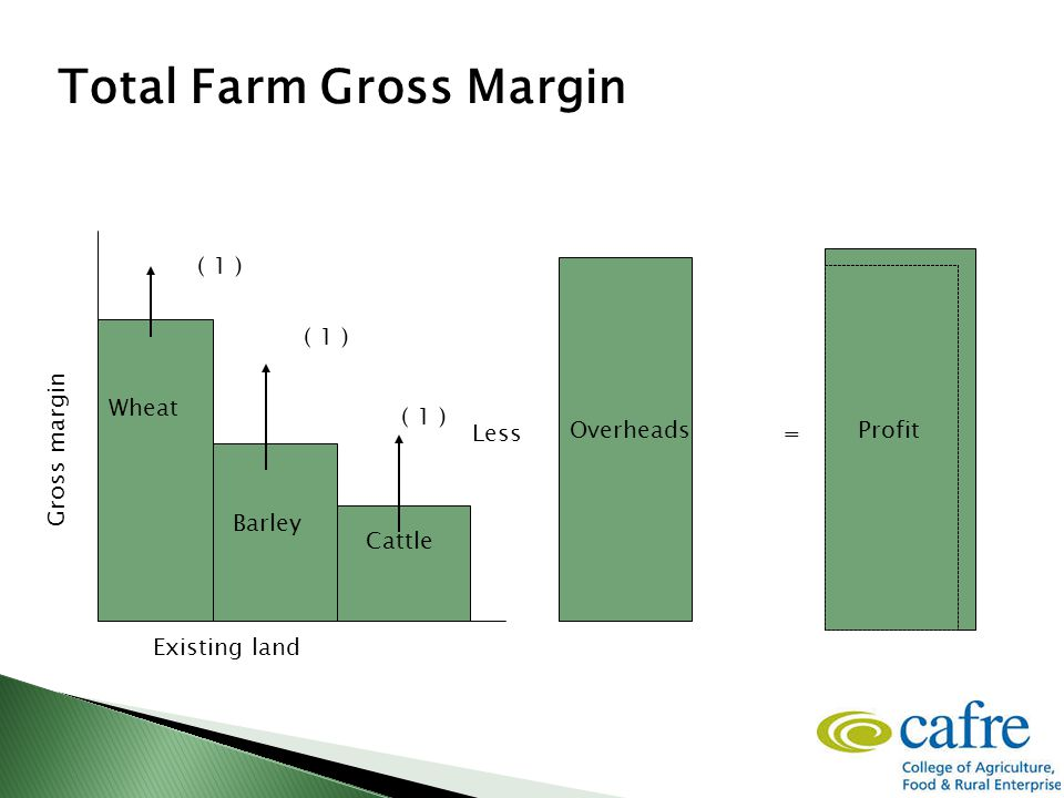 Wheat Barley Cattle Existing land ( 1 ) Total Farm Gross Margin =Less Gross margin Overheads Profit