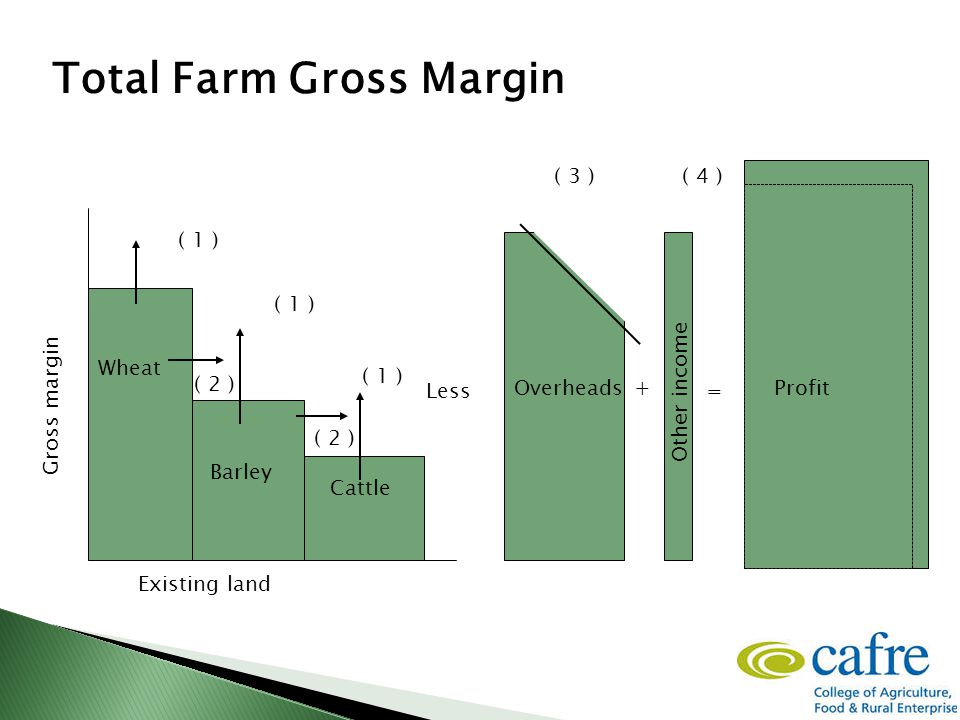 + = Wheat Barley Cattle Existing land Other income ( 1 ) ( 3 )( 4 ) Total Farm Gross Margin Less Gross margin Overheads Profit ( 2 )