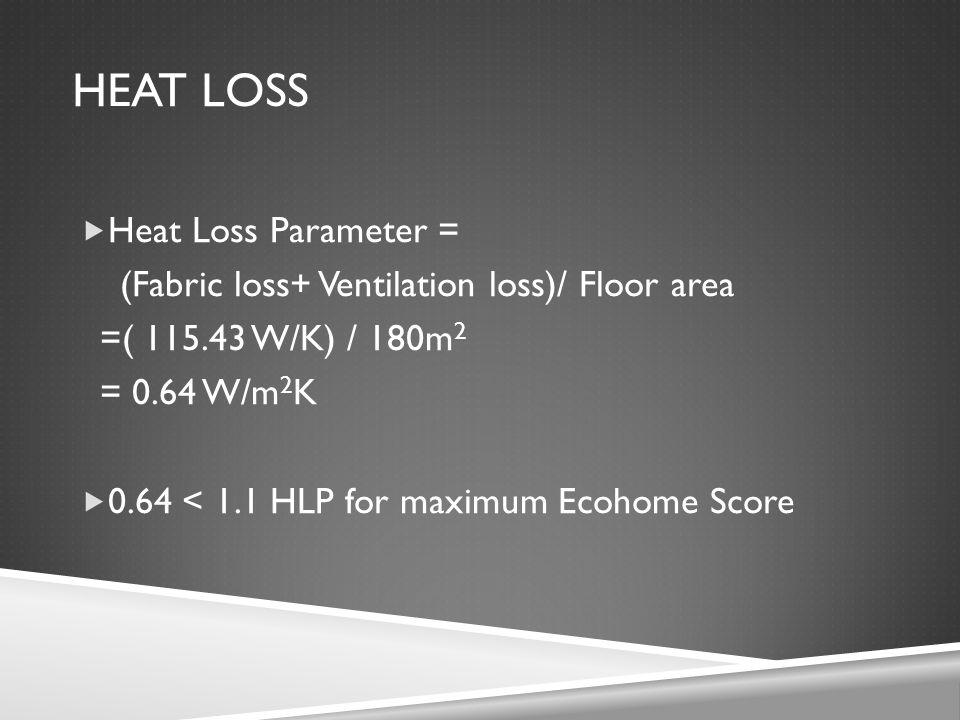HEAT LOSS  Heat Loss Parameter = (Fabric loss+ Ventilation loss)/ Floor area =( 115.43 W/K) / 180m 2 = 0.64 W/m 2 K  0.64 < 1.1 HLP for maximum Ecohome Score