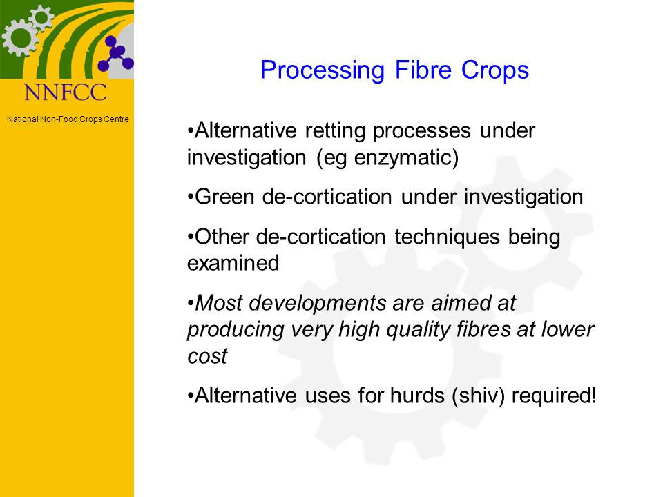 National Non-Food Crops Centre Processing Fibre Crops Alternative retting processes under investigation (eg enzymatic) Green de-cortication under investigation Other de-cortication techniques being examined Most developments are aimed at producing very high quality fibres at lower cost Alternative uses for hurds (shiv) required!