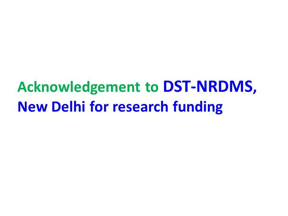 Acknowledgement to DST-NRDMS, New Delhi for research funding