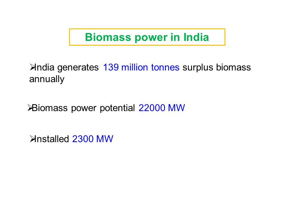  India generates 139 million tonnes surplus biomass annually  Biomass power potential 22000 MW  Installed 2300 MW Biomass power in India