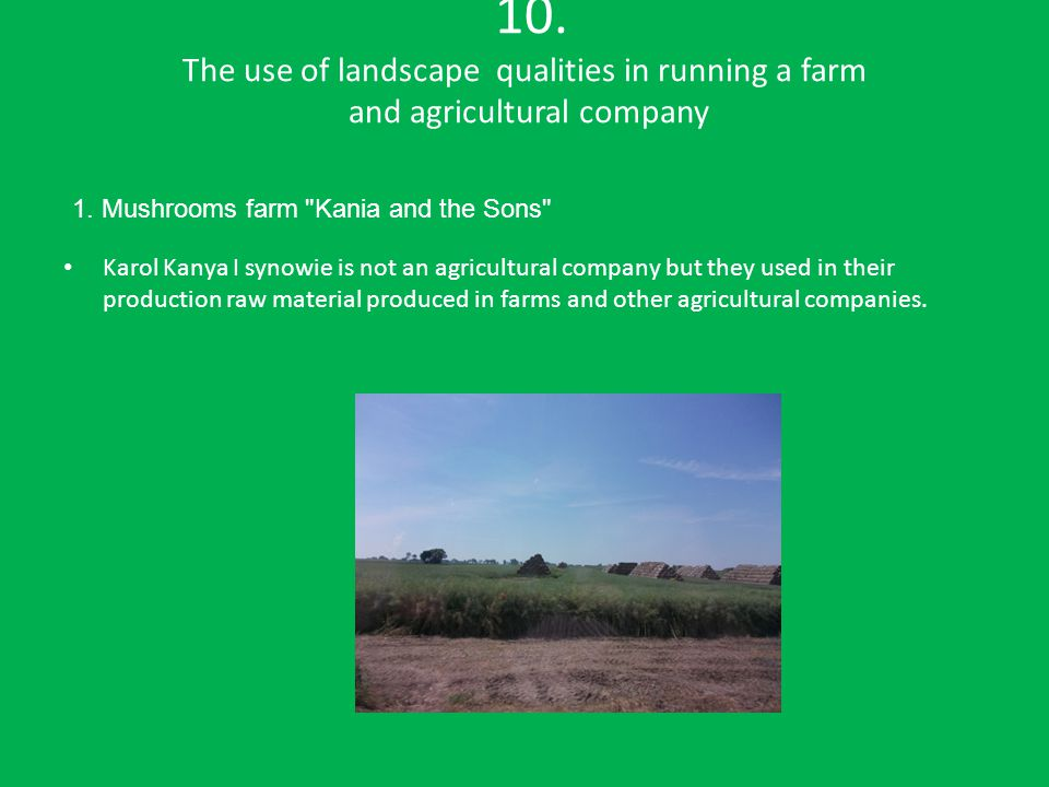 10. The use of landscape qualities in running a farm and agricultural company Karol Kanya I synowie is not an agricultural company but they used in th