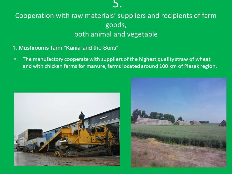 5. Cooperation with raw materials' suppliers and recipients of farm goods, both animal and vegetable The manufactory cooperate with suppliers of the h