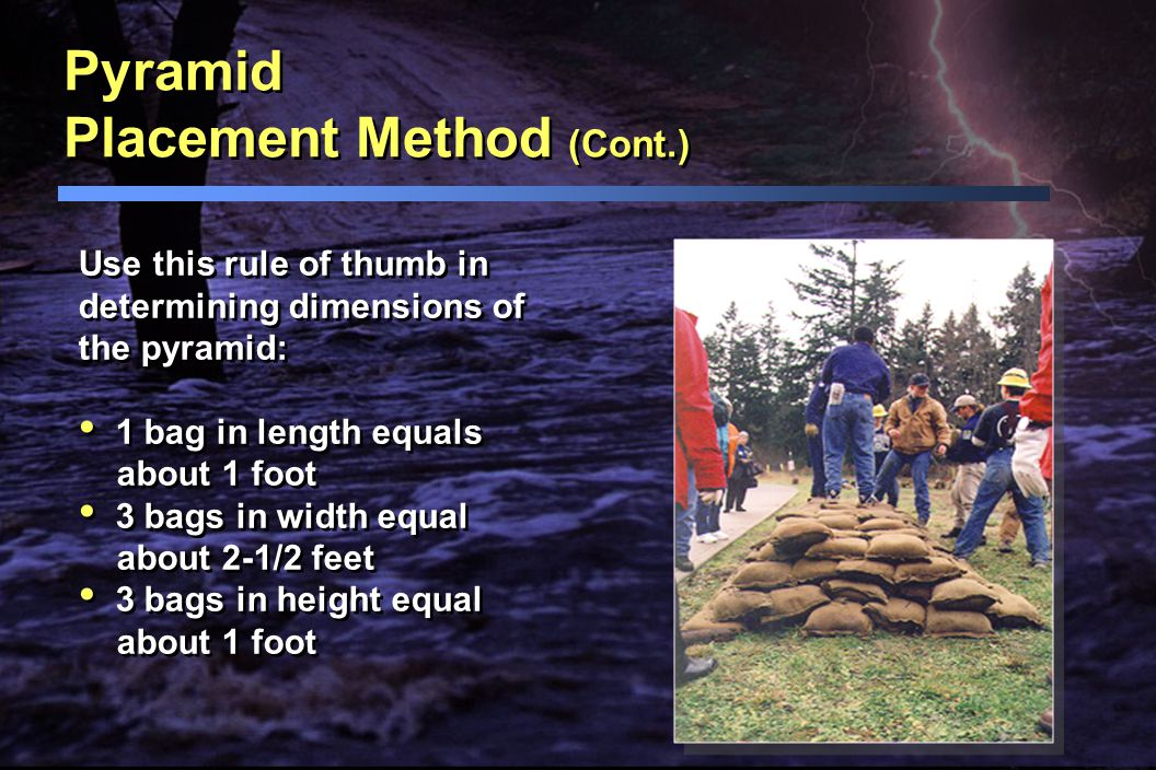 Pyramid Placement Method Use to increase the height of sandbag protection. Place equal number of rows on the bottom as there are vertical rows. When t