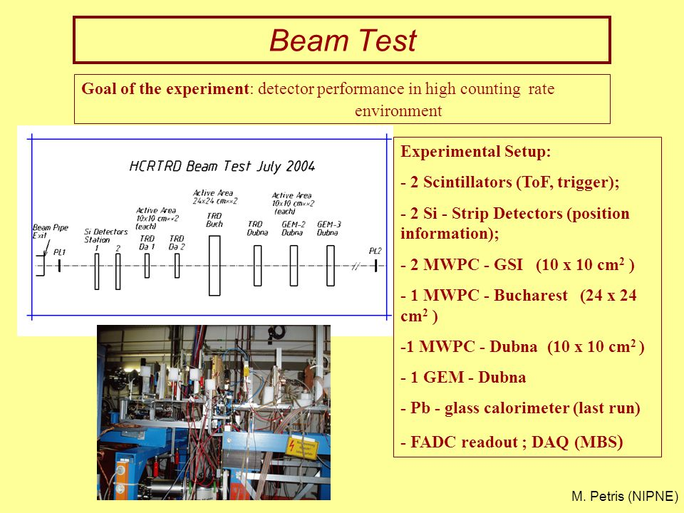 Beam Test Goal of the experiment: detector performance in high counting rate environment Experimental Setup: - 2 Scintillators (ToF, trigger); - 2 Si - Strip Detectors (position information); - 2 MWPC - GSI (10 x 10 cm 2 ) - 1 MWPC - Bucharest (24 x 24 cm 2 ) -1 MWPC - Dubna (10 x 10 cm 2 ) - 1 GEM - Dubna - Pb - glass calorimeter (last run) - FADC readout ; DAQ (MBS ) M.