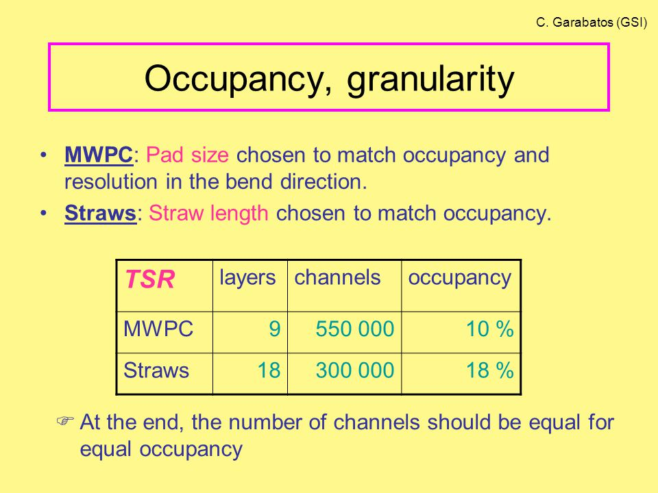 Occupancy, granularity MWPC: Pad size chosen to match occupancy and resolution in the bend direction.