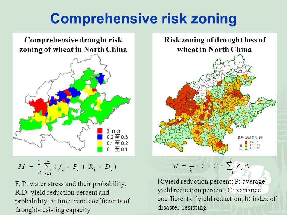 F, P: water stress and their probability; R,D: yield reduction percent and probability; a: time trend coefficients of drought-resisting capacity Comprehensive drought risk zoning of wheat in North China Risk zoning of drought loss of wheat in North China R: yield reduction percent; P: average yield reduction percent; C: variance coefficient of yield reduction; k: index of disaster-resisting Comprehensive risk zoning