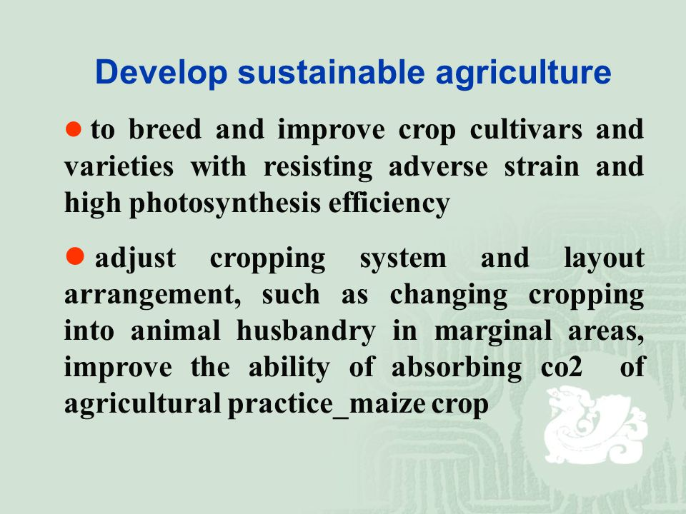Develop sustainable agriculture to breed and improve crop cultivars and varieties with resisting adverse strain and high photosynthesis efficiency adjust cropping system and layout arrangement, such as changing cropping into animal husbandry in marginal areas, improve the ability of absorbing co2 of agricultural practice_maize crop
