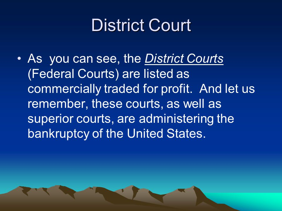District Court As you can see, the District Courts (Federal Courts) are listed as commercially traded for profit.