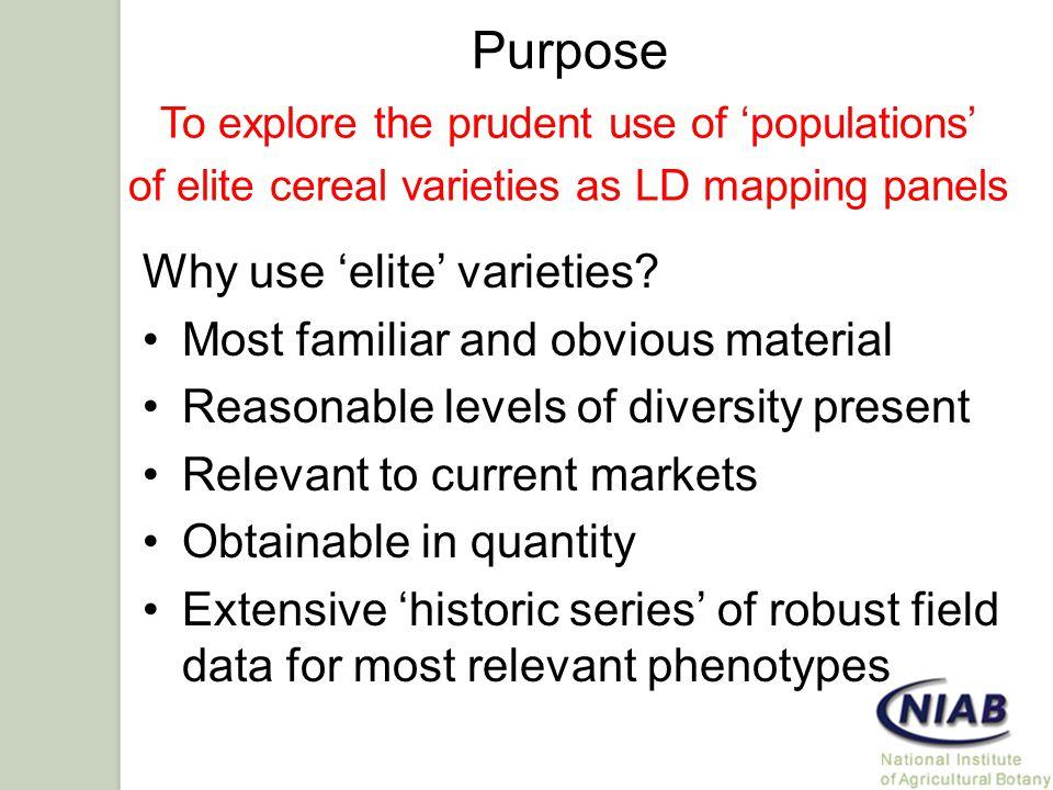 Purpose Why use 'elite' varieties.