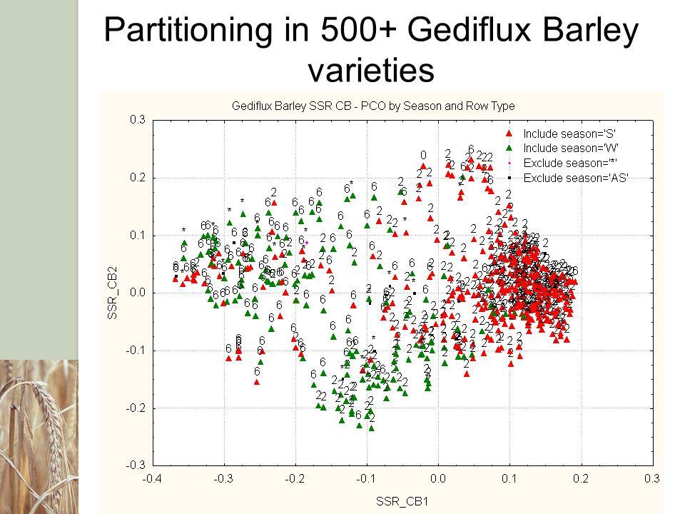 Partitioning in 500+ Gediflux Barley varieties