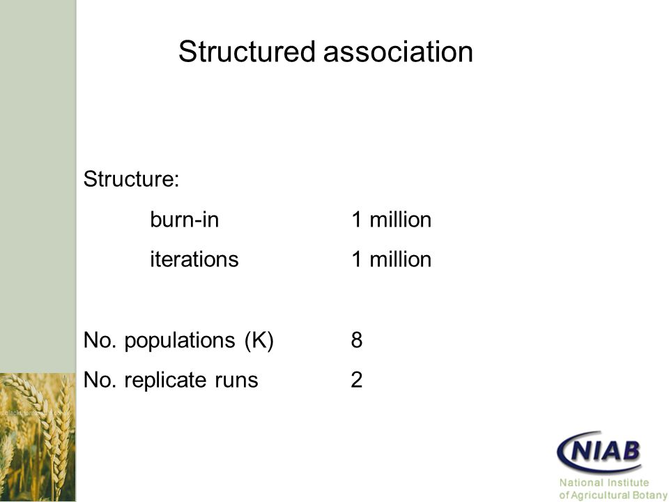 Structured association Structure: burn-in1 million iterations1 million No.