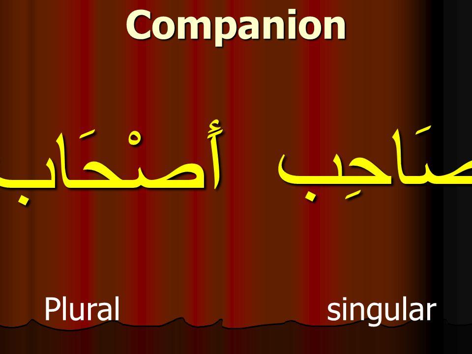 صَاحِب Plural singular Companion أَصْحَاب