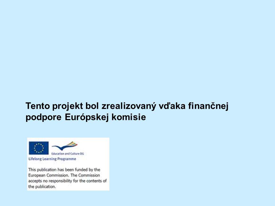 Tento projekt bol zrealizovaný vďaka finančnej podpore Európskej komisie