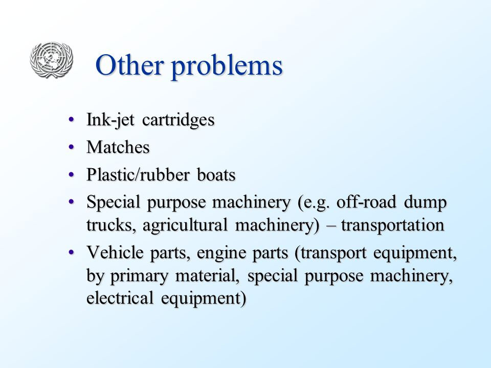 Other problems Ink-jet cartridgesInk-jet cartridges MatchesMatches Plastic/rubber boatsPlastic/rubber boats Special purpose machinery (e.g.