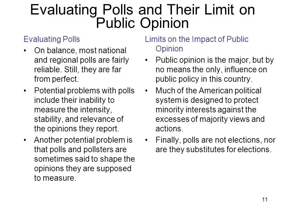 11 Evaluating Polls and Their Limit on Public Opinion Evaluating Polls On balance, most national and regional polls are fairly reliable. Still, they a