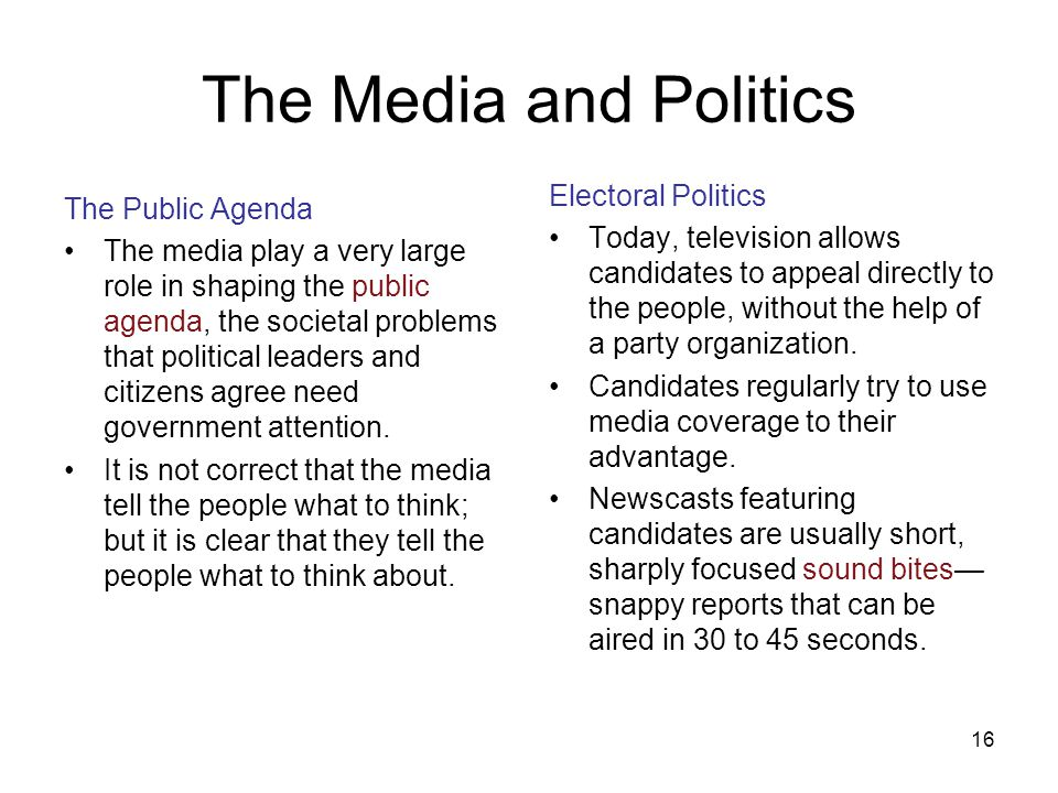 17 Limits on Media Influence Only a small part of the public actually takes in and understands much of what the media have to say about public affairs.