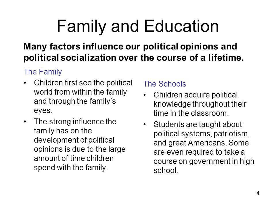4 Many factors influence our political opinions and political socialization over the course of a lifetime. Family and Education The Family Children fi