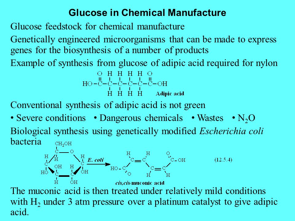 Glucose in Chemical Manufacture Glucose feedstock for chemical manufacture Genetically engineered microorganisms that can be made to express genes for