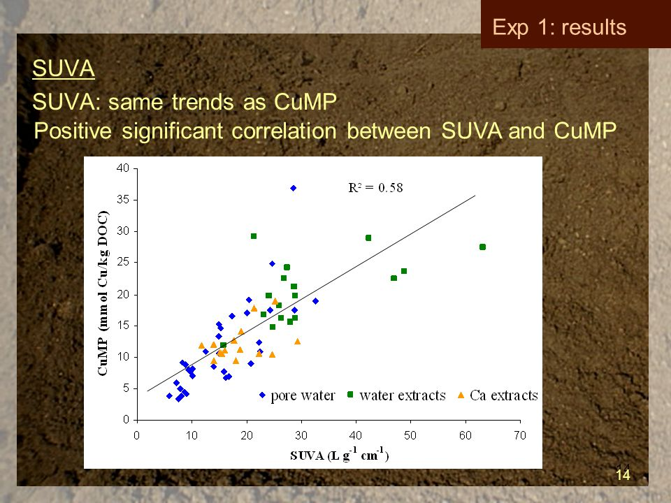 14 SUVA SUVA: same trends as CuMP 14 Exp 1: results Positive significant correlation between SUVA and CuMP