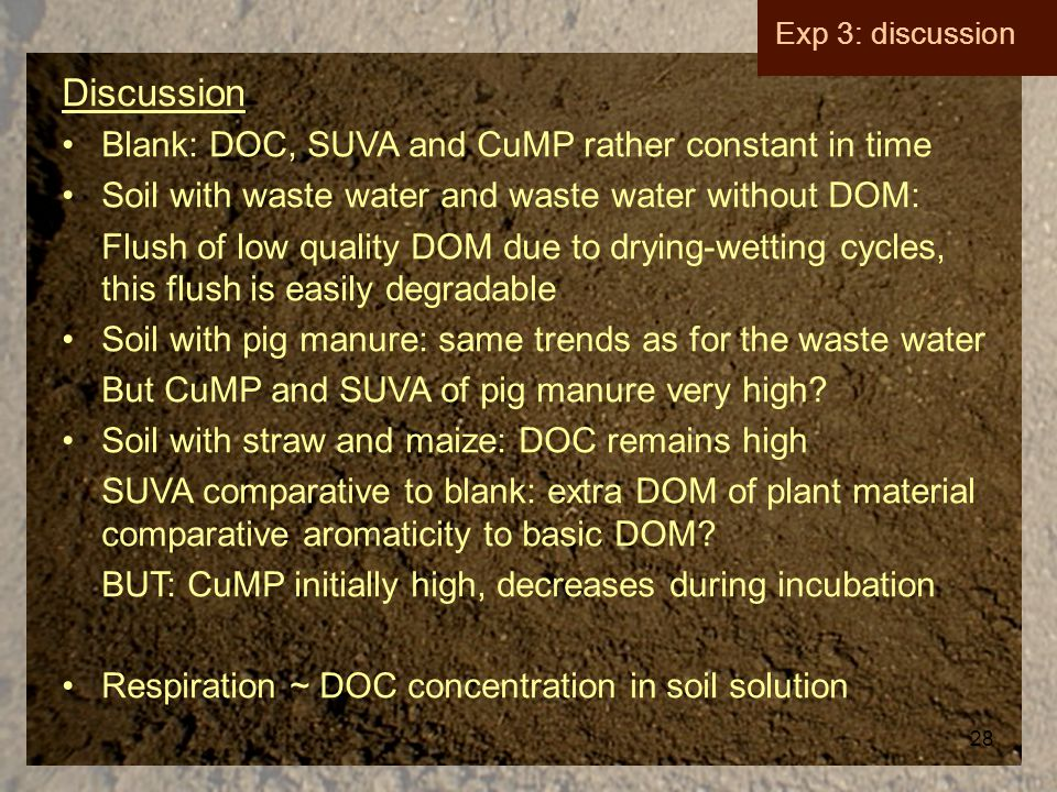 28 Exp 3: discussion Discussion Blank: DOC, SUVA and CuMP rather constant in time Soil with waste water and waste water without DOM: Flush of low quality DOM due to drying-wetting cycles, this flush is easily degradable Soil with pig manure: same trends as for the waste water But CuMP and SUVA of pig manure very high.