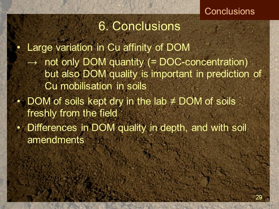 29 6. Conclusions Large variation in Cu affinity of DOM → not only DOM quantity (= DOC-concentration) but also DOM quality is important in prediction