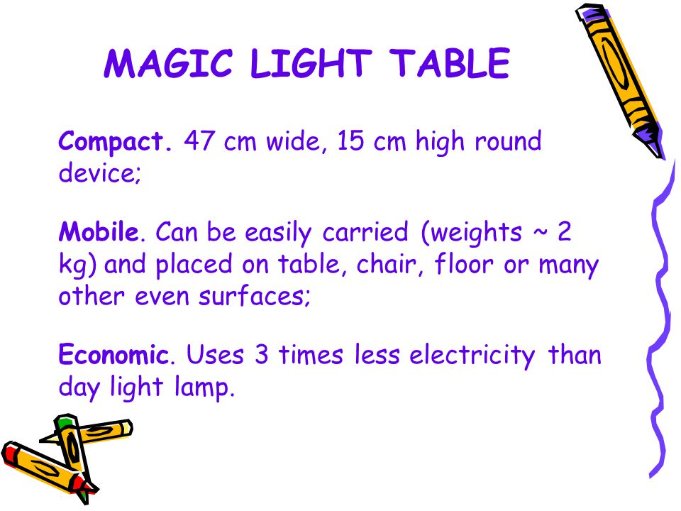 MAGIC LIGHT TABLE Compact. 47 cm wide, 15 cm high round device; Mobile.