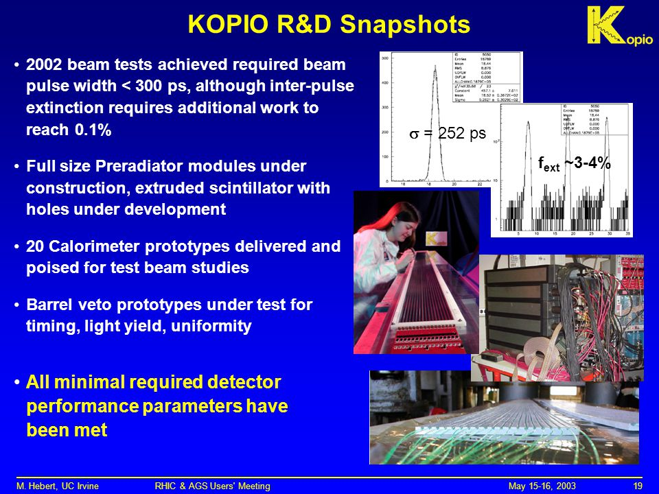 May 15-16, 2003M. Hebert, UC Irvine RHIC & AGS Users' Meeting19 KOPIO R&D Snapshots 2002 beam tests achieved required beam pulse width < 300 ps, altho