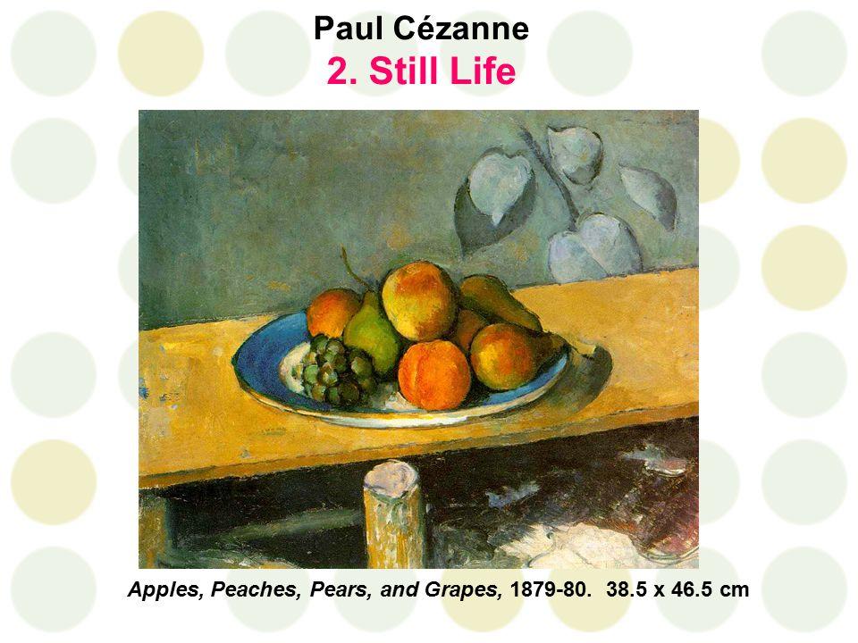 Paul Cézanne 2. Still Life Apples, Peaches, Pears, and Grapes, 1879-80. 38.5 x 46.5 cm