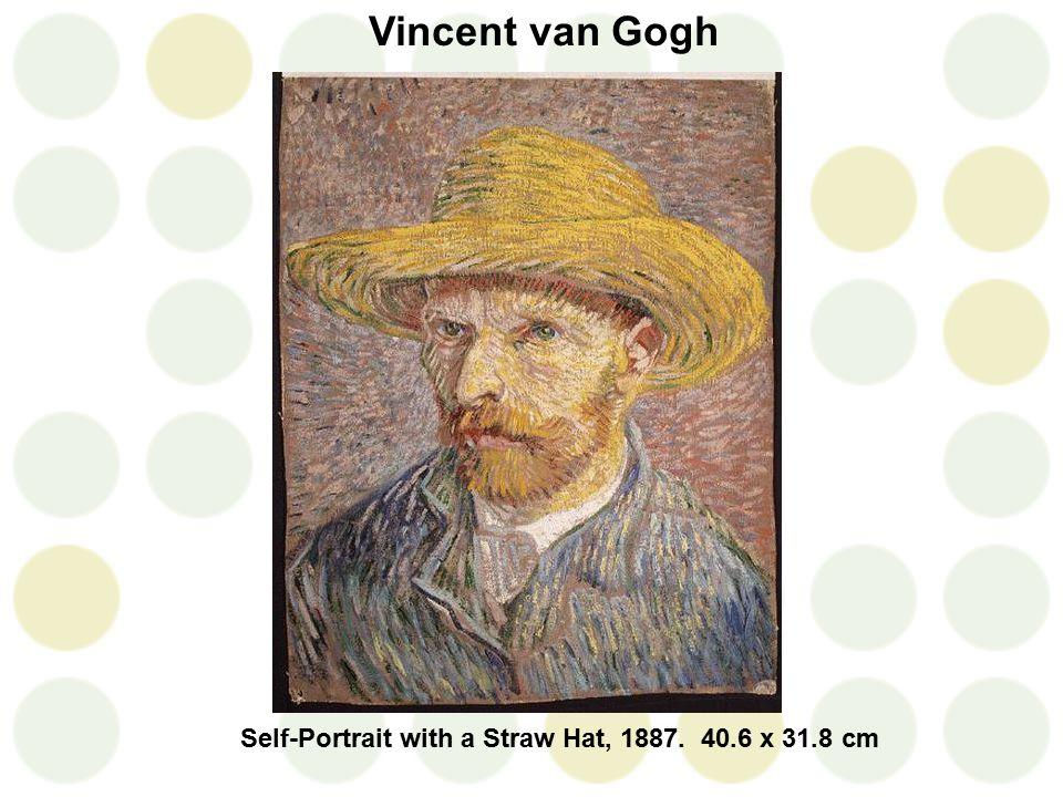 Self-Portrait with a Straw Hat, 1887. 40.6 x 31.8 cm Vincent van Gogh