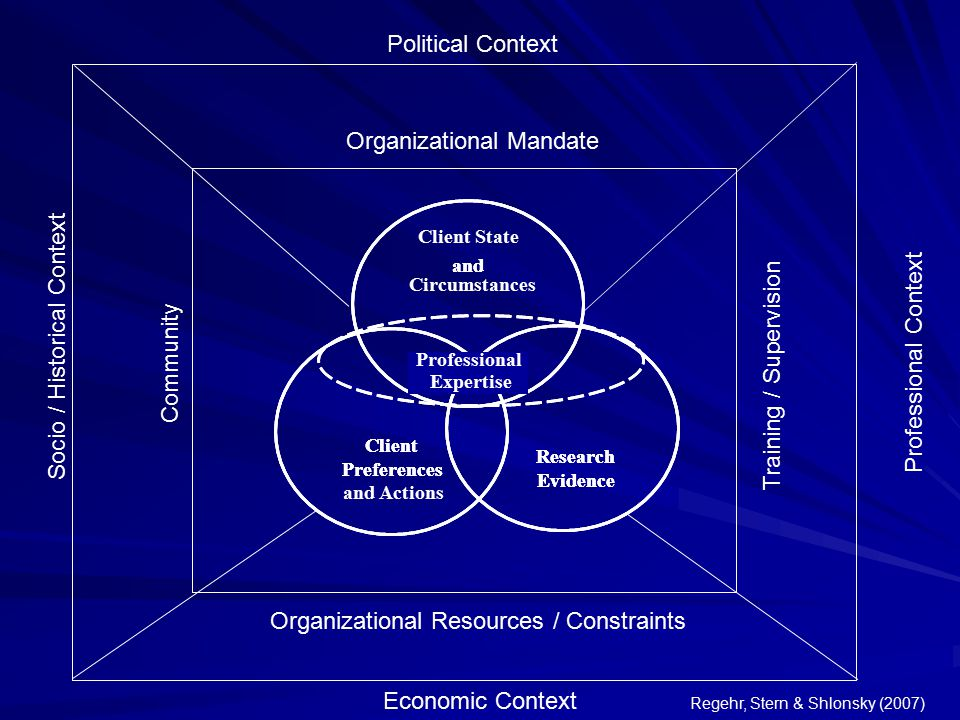 Organizational Mandate Organizational Resources / Constraints Community Training / Supervision Political Context Socio / Historical Context Economic C