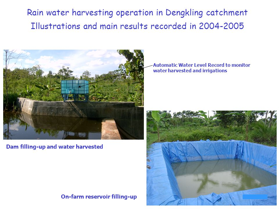Rain water harvesting operation in Dengkling catchment Illustrations and main results recorded in 2004-2005 Dam filling-up and water harvested Automat