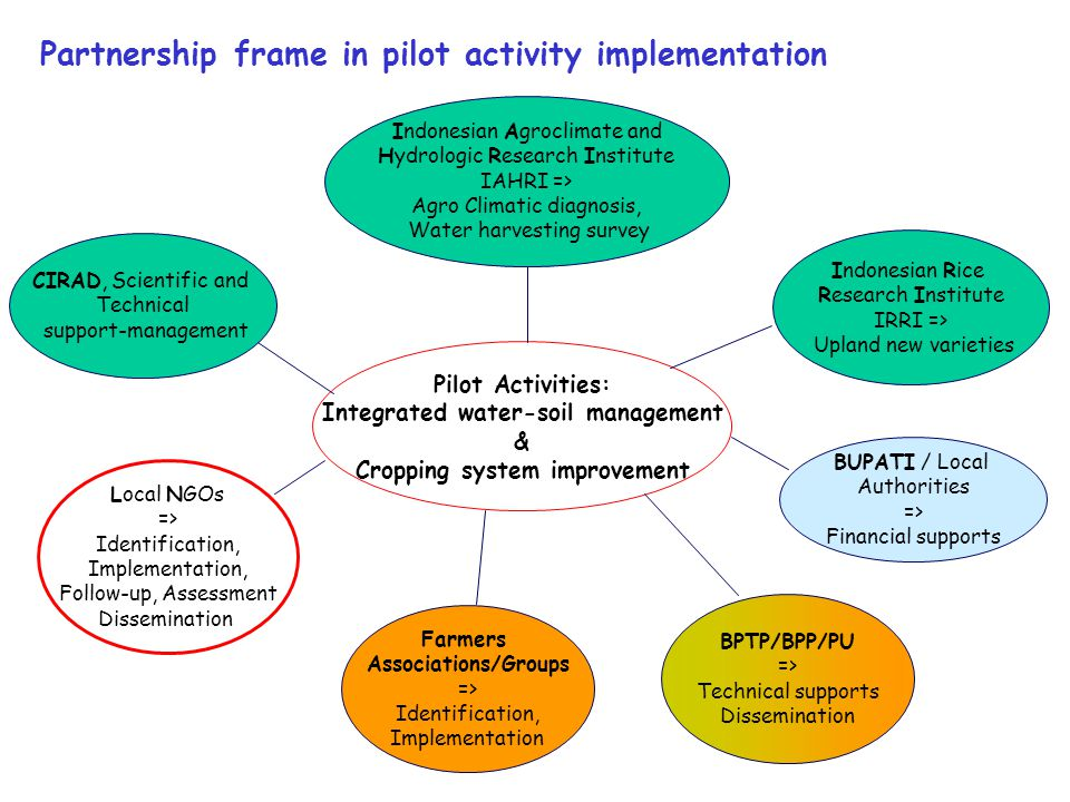 Partnership frame in pilot activity implementation Indonesian Rice Research Institute IRRI => Upland new varieties Pilot Activities: Integrated water-