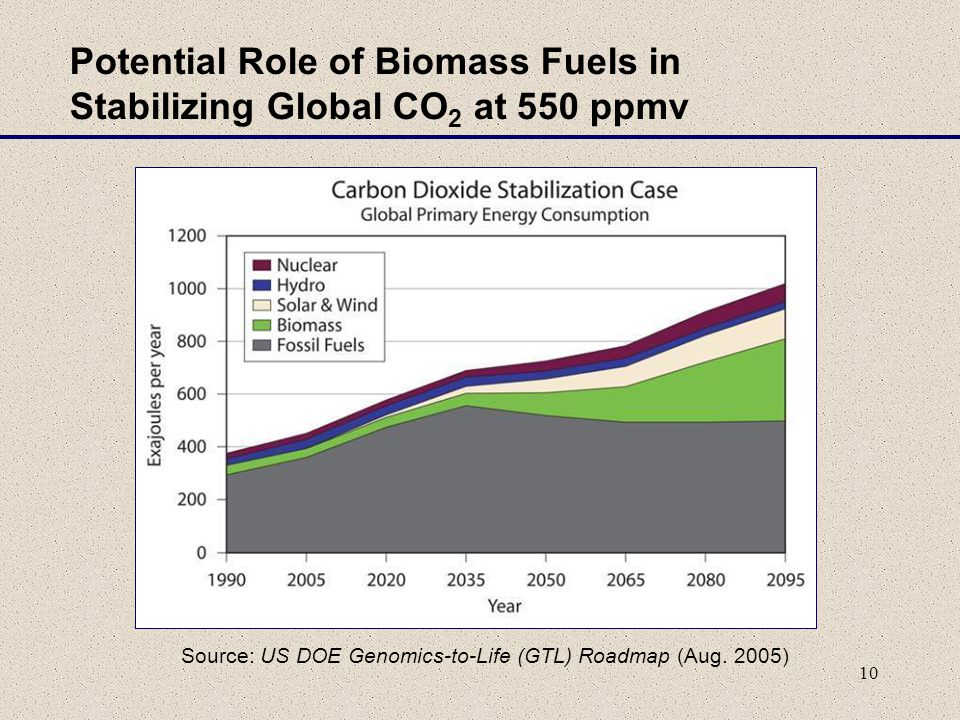 10 Potential Role of Biomass Fuels in Stabilizing Global CO 2 at 550 ppmv Source: US DOE Genomics-to-Life (GTL) Roadmap (Aug.