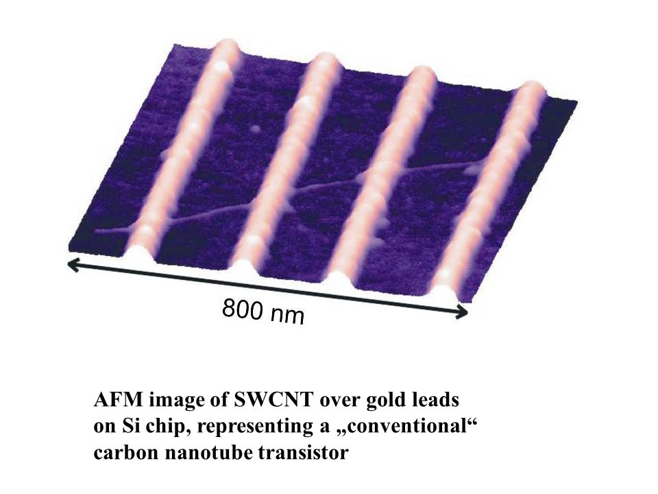 "AFM image of SWCNT over gold leads on Si chip, representing a ""conventional carbon nanotube transistor"