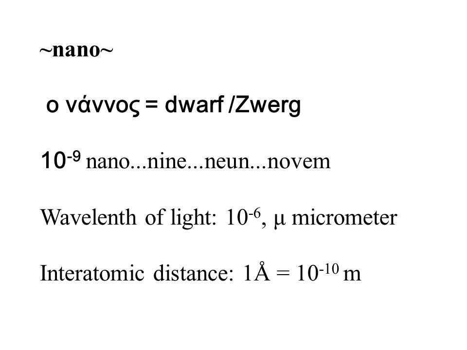 ο νάννος = dwarf /Zwerg 10 -9 nano...nine...neun...novem Wavelenth of light: 10 -6, μ micrometer Interatomic distance: 1Å = 10 -10 m