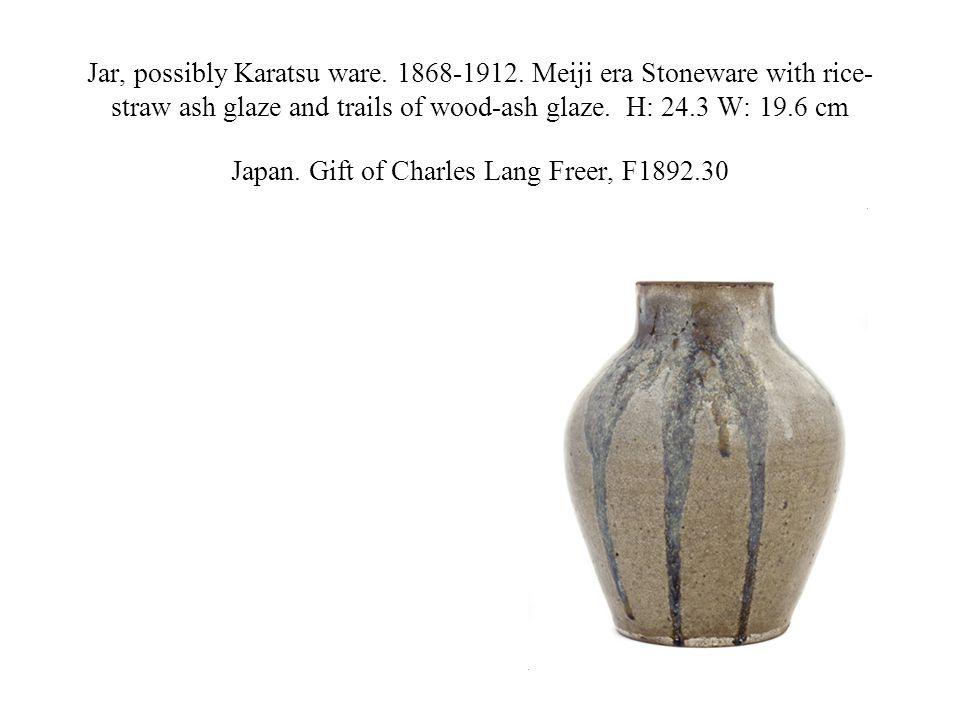 Jar, possibly Karatsu ware. 1868-1912. Meiji era Stoneware with rice- straw ash glaze and trails of wood-ash glaze. H: 24.3 W: 19.6 cm Japan. Gift of