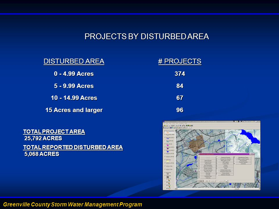 PROJECTS BY DISTURBED AREA PROJECTS BY DISTURBED AREA DISTURBED AREA # PROJECTS 0 - 4.99 Acres 374 5 - 9.99 Acres 84 10 - 14.99 Acres 67 15 Acres and larger 96 TOTAL PROJECT AREA 25,792 ACRES 25,792 ACRES TOTAL REPORTED DISTURBED AREA 5,068 ACRES 5,068 ACRES