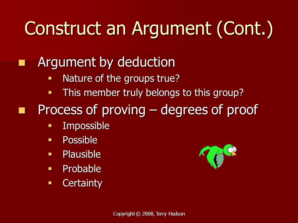 Copyright © 2008, Terry Hudson Construct an Argument (Cont.) Argument by deduction Argument by deduction  Nature of the groups true?  This member tr