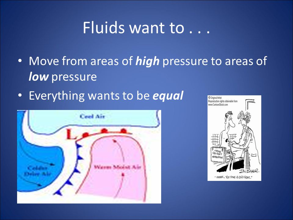 Pressure Differences and Fluid Flow Just by drinking through a straw you can observe an important property of fluids: Fluids flow from areas of high pressure to areas of low pressure.