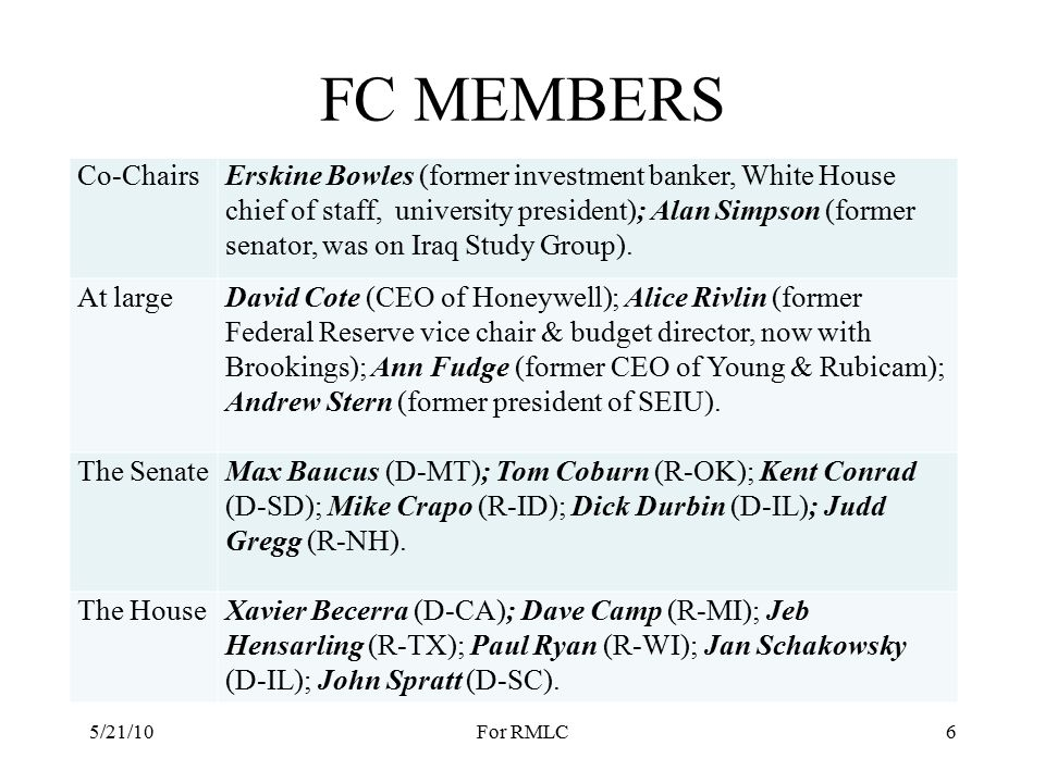 FC MEMBERS Co-ChairsErskine Bowles (former investment banker, White House chief of staff, and university president); Alan Simpson (former senator, has served on various advisory groups including the Iraq Study Group) At largeDavid Cote (CEO of Honeywell, identified as a Republican); Alice Rivlin (former Federal Reserve vice chair and budget director in the Clinton Administration, now with Brookings Institution); Anne Fudge (former CEO of Young & Rubicam Brands, also held executive positions at General Mills and Kraft Foods); Andrew Stern (retiring president of Service Employees International Union or SEIU).