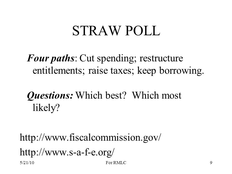 STRAW POLL Four paths: Cut spending; restructure entitlements; raise taxes; keep borrowing.