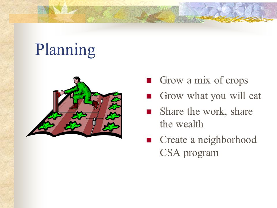 Planning Grow a mix of crops Grow what you will eat Share the work, share the wealth Create a neighborhood CSA program
