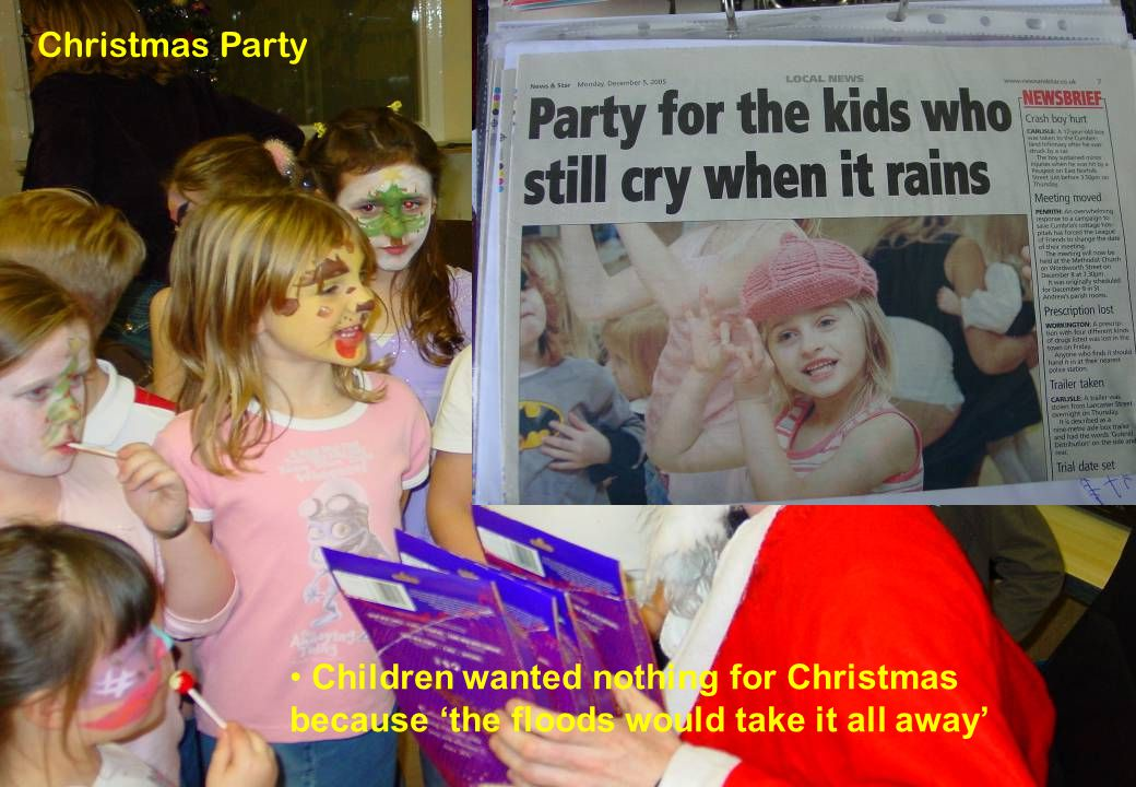 17 © Paul Hendy - Scottish Flood Forum Christmas Party Children wanted nothing for Christmas because 'the floods would take it all away'