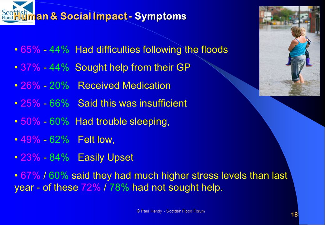 18 © Paul Hendy - Scottish Flood Forum Human & Social Impact - Symptoms 65% - 44% Had difficulties following the floods 37% - 44% Sought help from their GP 26% - 20% Received Medication 25% - 66% Said this was insufficient 50% - 60% Had trouble sleeping, 49% - 62% Felt low, 23% - 84% Easily Upset 67% / 60% said they had much higher stress levels than last year - of these 72% / 78% had not sought help.