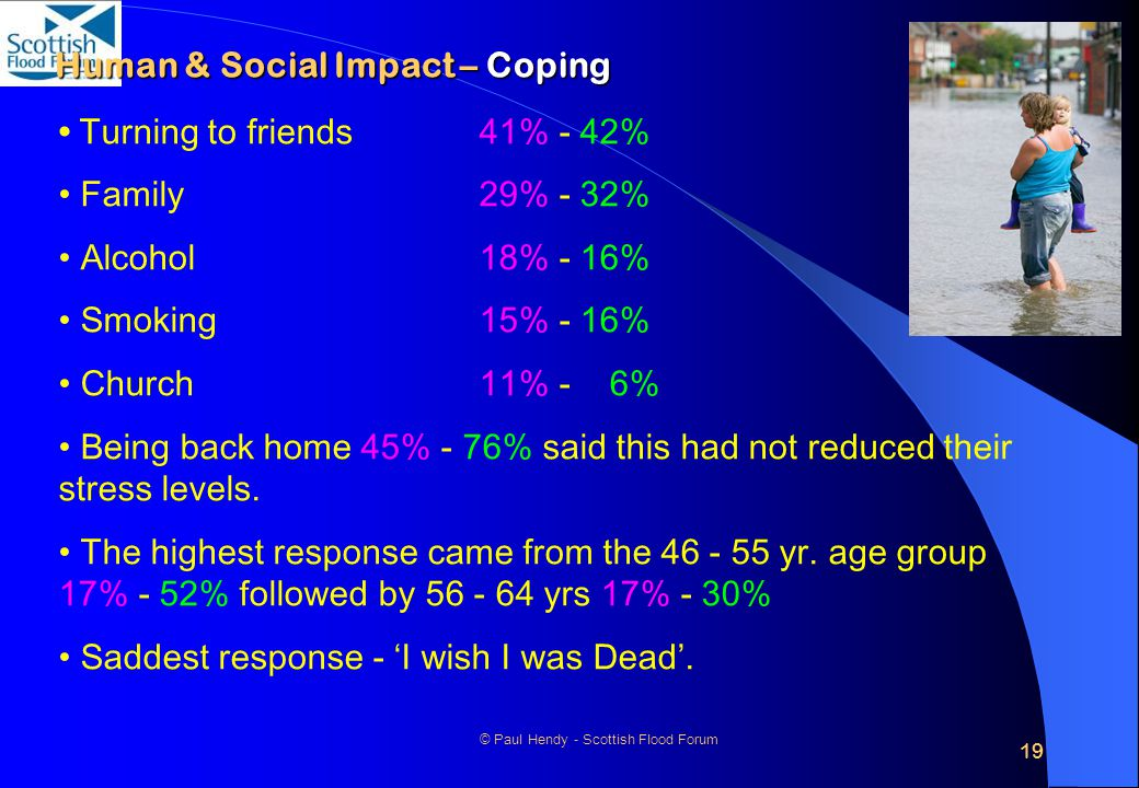 19 © Paul Hendy - Scottish Flood Forum Human & Social Impact – Coping Turning to friends 41% - 42% Family 29% - 32% Alcohol 18% - 16% Smoking15% - 16% Church 11% - 6% Being back home 45% - 76% said this had not reduced their stress levels.
