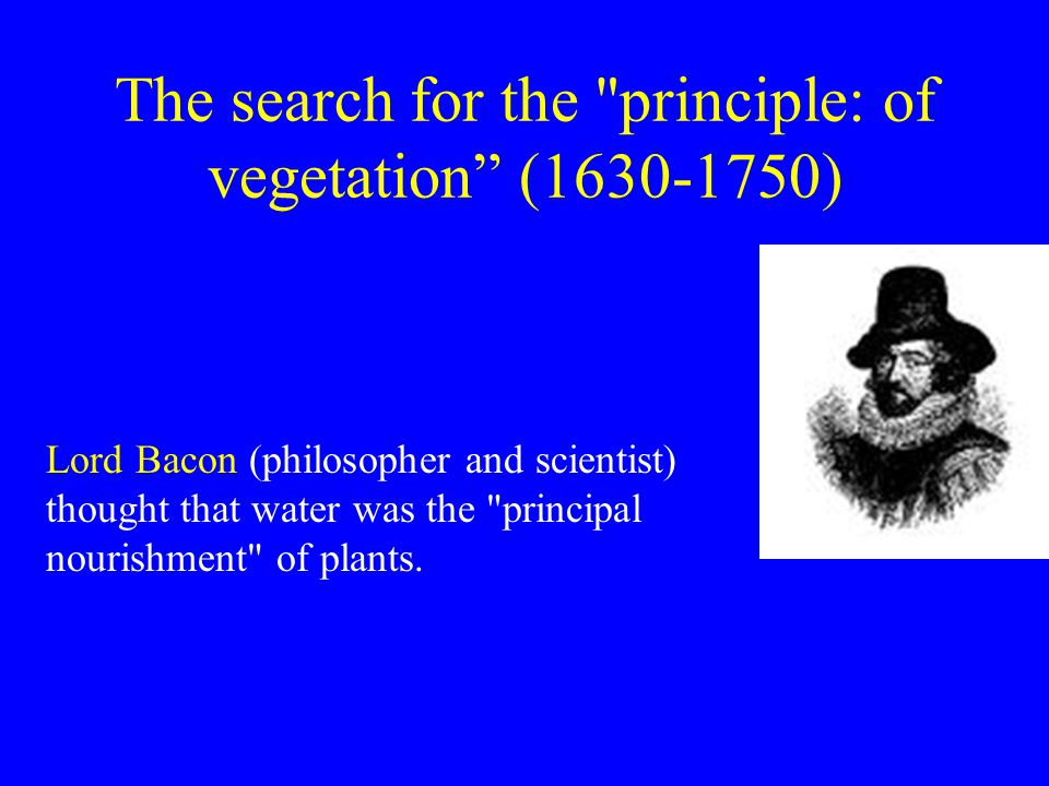 The search for the principle: of vegetation (1630-1750) Lord Bacon (philosopher and scientist) thought that water was the principal nourishment of plants.