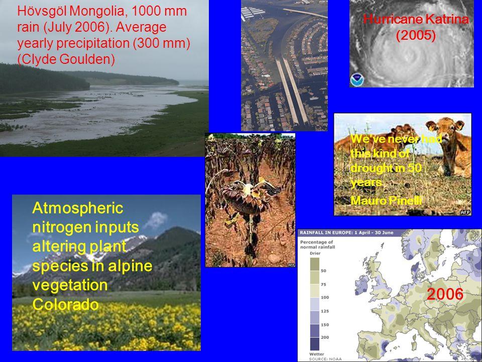 Hövsgöl Mongolia, 1000 mm rain (July 2006). Average yearly precipitation (300 mm) (Clyde Goulden) Hurricane Katrina (2005) We've never had this kind o